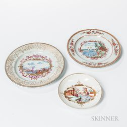 Three Porcelain Meissen-type Decorated Table Items