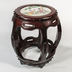 Enameled Porcelain-top Wood Stool