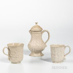 Three Molded Staffordshire White Salt-glazed Stoneware Table Items