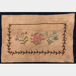 Chenille Embroidered Rug of Floral Sprays and Meandering Vine Border