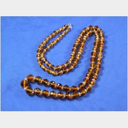 Citrine and Rock Crystal Bead Necklace