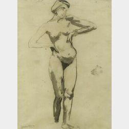 Jerome S. Blum (American, 1884-1956)  Female Nude Study