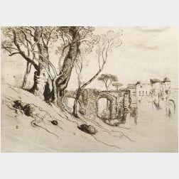 Lot of Four Architectural Etchings: Samuel Colman (American, 1832-1920), Aqueduct and City Walls; Hendrick Dirk Kruseman van Elten (Dut