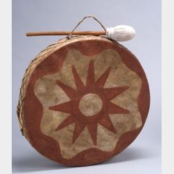 Plains Painted Wood and Hide Drum