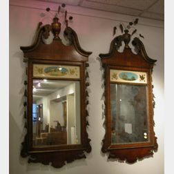 Pair of American Federal Style Inlaid Mahogany and Reverse Painted Hall Mirrors
