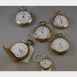 Group of Six Pocket Watches by Waltham, Hampden, and Elgin