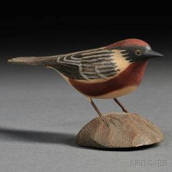 Jess Blackstone Miniature Carved and Painted Bay-breasted Warbler Figure