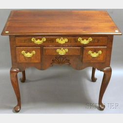 Queen Anne Carved Walnut and Burl Veneer Dressing Table