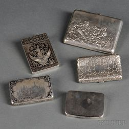 Four Silver Cigarette Cases and a Silver Card Case