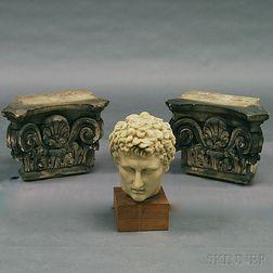 Two Concrete Corinthian Capitals and a Composite British Museum Replica Portrait   Head