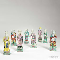 Set of Famille Rose Figures of the Eight Daoist Immortals