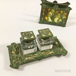 Art Nouveau Patinated Metal and Glass Letter Holder and Inkstand