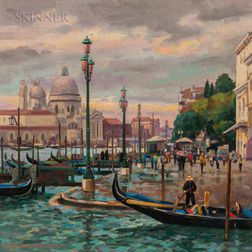 Donald Allen Mosher (American, 1945-2014)      Awaiting Gondolas, Venice