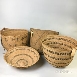 Four Large Woven Baskets