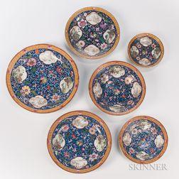 Set of Six Enameled Dishes