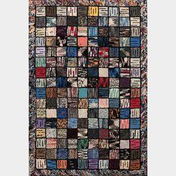 Modernist Hooked Rug with Grid Design