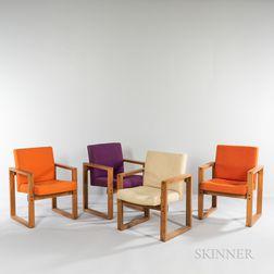 Four Hans Krieks Compact Sled-base Armchairs
