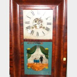 William S. Johnson Mahogany Veneer Ogee and George Washington Reverse Painted Mantel Clock.