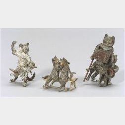 Three Cold Painted Metal Figures of Cats