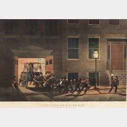 "Nathaniel Currier, publisher (American, 1813-1888)  THE LIFE OF A FIREMAN:  The Night Alarm.- ""Start her lively boys.,"""