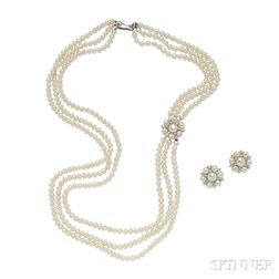 14kt Gold, Cultured Pearl, and Diamond Suite