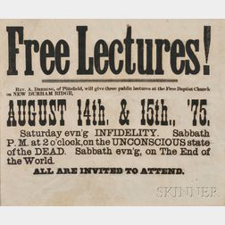 "Framed ""Free Lectures!"" Broadside"