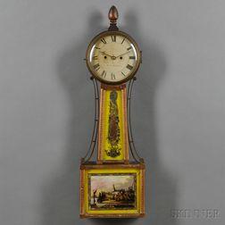 Rare Federal Mahogany and Gilt Gesso Striking Banjo Wall Clock