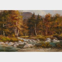 American School, 20th Century      Autumnal Landscape with River.