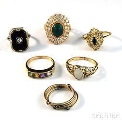 Six Mostly 14kt Gold Gem-set Rings