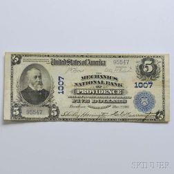 1902 The Mechanics National Bank $5 Plain Back Note