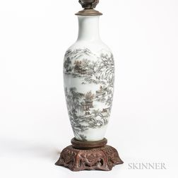 Grisaille-enameled Lamp Vase