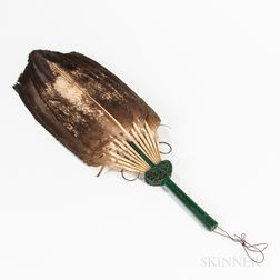 Feather Fan with Faux Malachite Handle