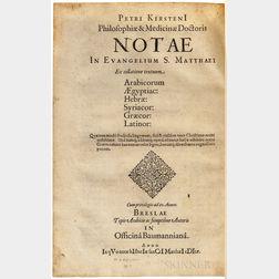 Kirsten, Peter (1575-1640) Notae in Evangelium S. Matthaei Ex Collatione Textuum Arabicorum Aegyptiac: Hebrae: Syriacor: Graecor: Latin