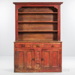 Red-painted Pine Two-piece Step-back Cupboard or Buffet-Dresser