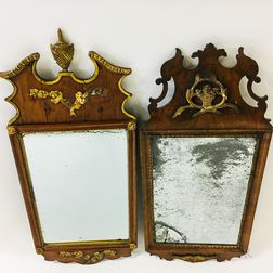Two Continental Baroque Parcel-gilt Walnut Mirrors