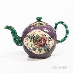 Staffordshire Enamel-decorated Salt-glazed Stoneware Teapot