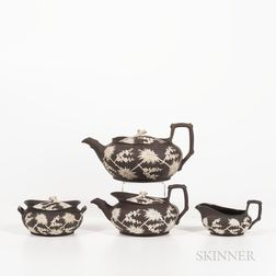 Four Wedgwood Dark Brown Stoneware Prunus Tea Wares