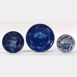 Three Blue Transferware Staffordshire Pottery Plates