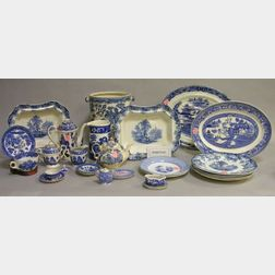 Approximately 104 Pieces of Assorted Blue Willow Pattern Ceramic Dinnerware   and Nine Blue and White Staffordshire Tableware Items