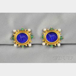 18kt Gold, Venetian Glass Intaglio, and Gem-set Earclips, Elizabeth Locke