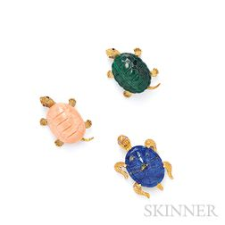 Three 18kt Gold Turtle Brooches