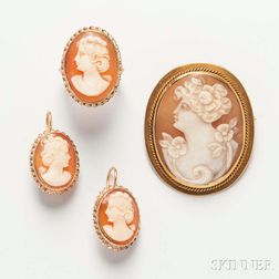 Shell Cameo Brooch, Ring, and Earrings