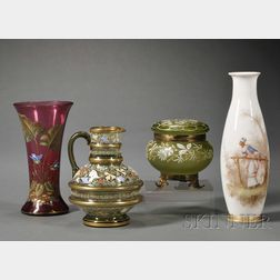 Four Continental Enamel-decorated Glass Tableware Items