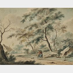 Attributed to Johannes Christiaan Janson (Dutch, 1763-1823)      Pair of Wooded Landscapes with Men Standing in the Road Talking