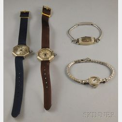 Four Mostly Gold and Platinum Wristwatches