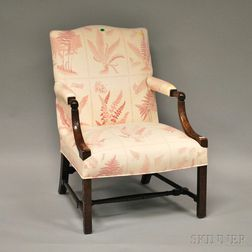 Chippendale-style Upholstered Carved Mahogany Easy Chair.     Estimate $200-400