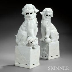 Pair of Jingdezhen Blanc-de-Chine Buddhist Lions