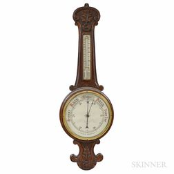 Carved Oak Aneroid Wheel Barometer
