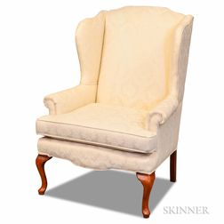Queen Anne-style Stained and Upholstered Wing Chair