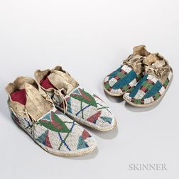 Two Pairs of Lakota Beaded Hide Moccasins